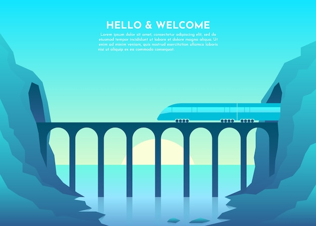 Ponte di trasporto sul fiume, mare, lago, oceano, tunnel in montagna. Vettore Premium
