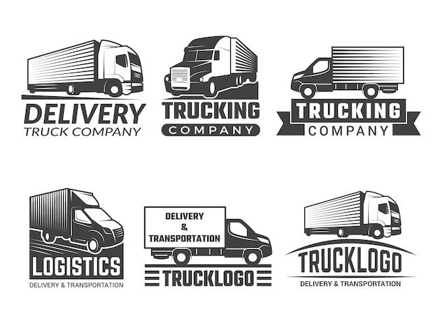 Logo di trasporto. silhouette camion vari emblemi di tema logistico. logo aziendale isolato Vettore Premium