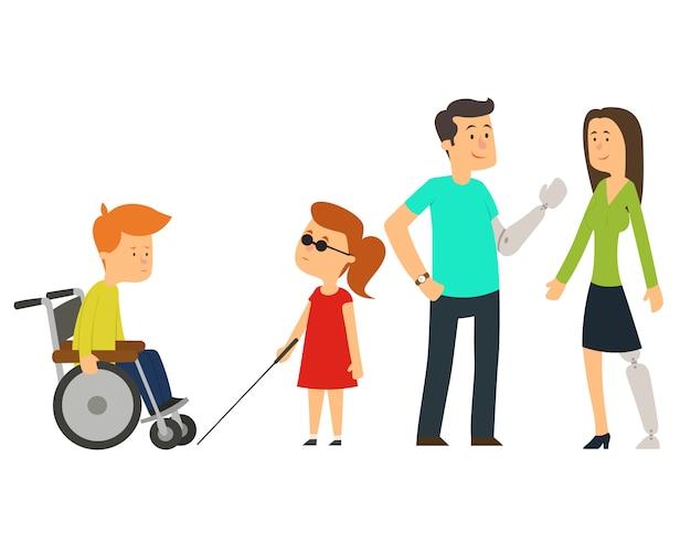 Trauma e lesioni, persone su sedia a rotelle, bambini e anziani. Vettore Premium