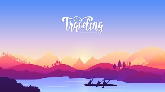 Viaggio attivo sport avventura concept design. stile di vita nella natura per chi ama il movimento Vettore Premium