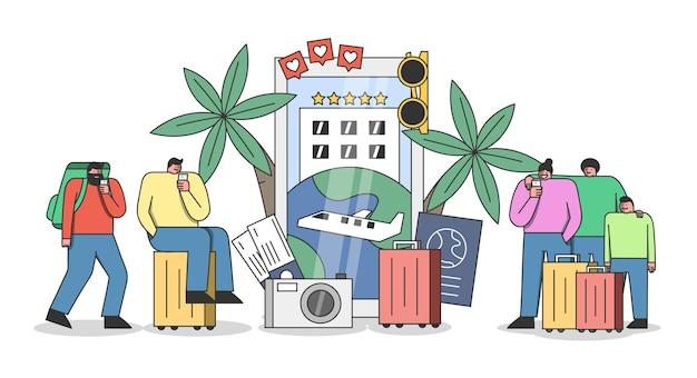 Concetto di applicazione di viaggio. gruppo di turisti che effettuano prenotazioni e prenotazioni per vacanze o viaggi online utilizzando gli smartphone Vettore Premium