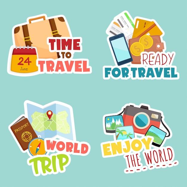 Viaggiare per il mondo set di adesivi Vettore Premium