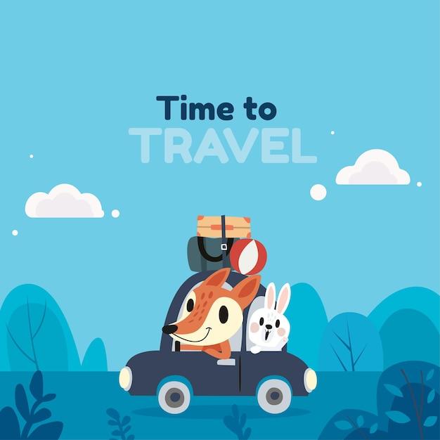 Sfondo di viaggio in stile piatto con illustrazione carina Vettore Premium