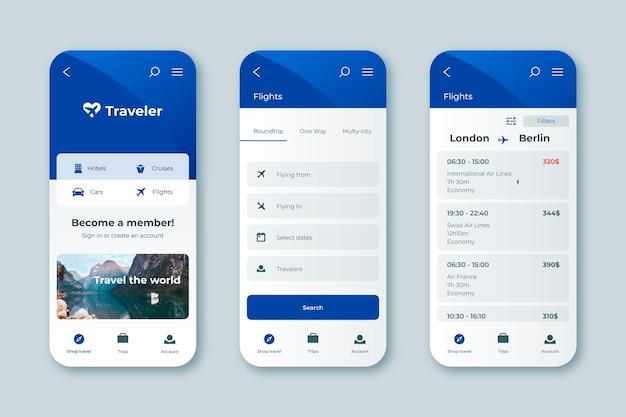 Interfaccia dell'app di prenotazione viaggi Vettore Premium