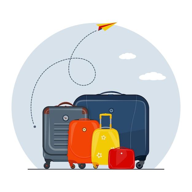Concetto di viaggio con percorso aereo Vettore Premium