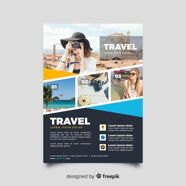 Modello di volantino di viaggio con foto Vettore Premium