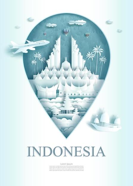 Monumento di architettura dell'indonesia di viaggio Vettore Premium