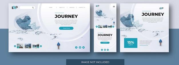 Pagina di destinazione del viaggio sito web, schermata dell'app e modello di post di feed di social media con mountain Vettore Premium