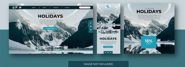 Pagina di destinazione di viaggio sito web, schermata dell'app e social media feed post template con snow mountain Vettore Premium