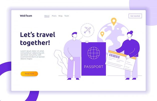 Landing page di viaggio con grandi persone moderne, uomo e donna che viaggiano per il mondo. Vettore Premium