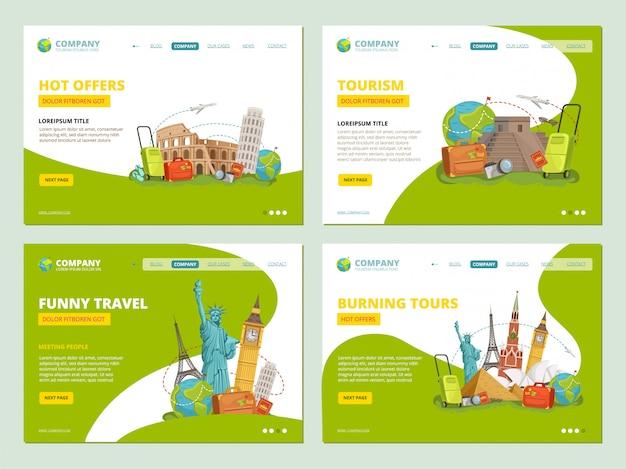 Pagine di destinazione di viaggio. punti di interesse storici dei punti di riferimento per il vettore della disposizione di app del modello di affari del sito web dei viaggiatori Vettore Premium