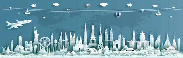 Punti di riferimento di viaggio nel mondo dell'architettura, importanti monumenti architettonici del mondo. Vettore Premium