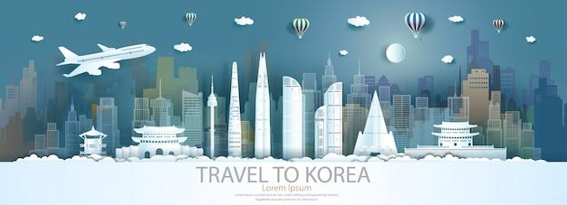 Monumenti di viaggio corea del sud città con volo e palloncino. Vettore Premium