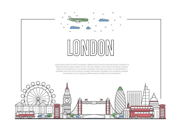 Poster di viaggio londra in stile lineare Vettore Premium