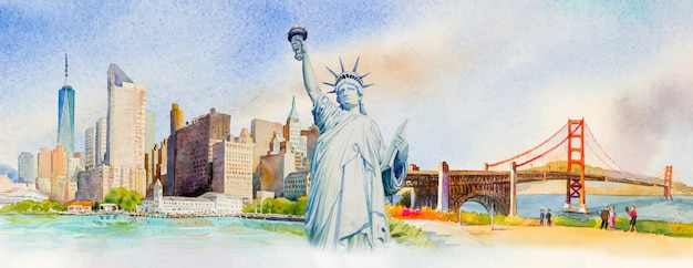 Viaggia manhattan urbano, statua liberty, golden gate bridge negli stati uniti. Vettore Premium