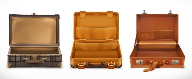 Viaggio. valigia aperta. set di icone Vettore Premium
