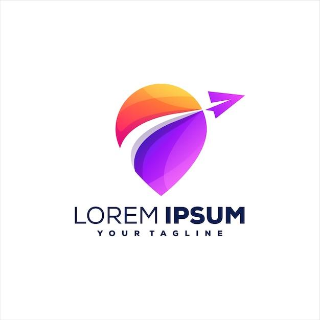 Design del logo gradiente pin da viaggio Vettore Premium