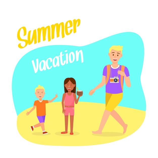 Cartolina di viaggio con lettering vacanze estive. Vettore Premium