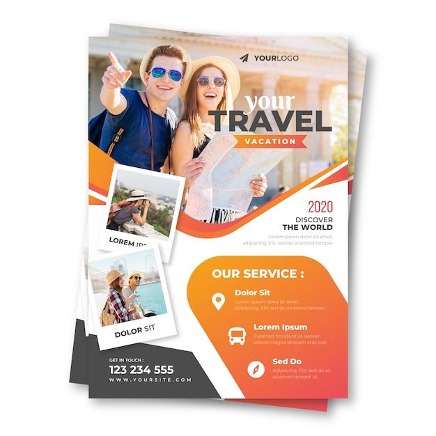 Poster di viaggio con foto Vettore Premium