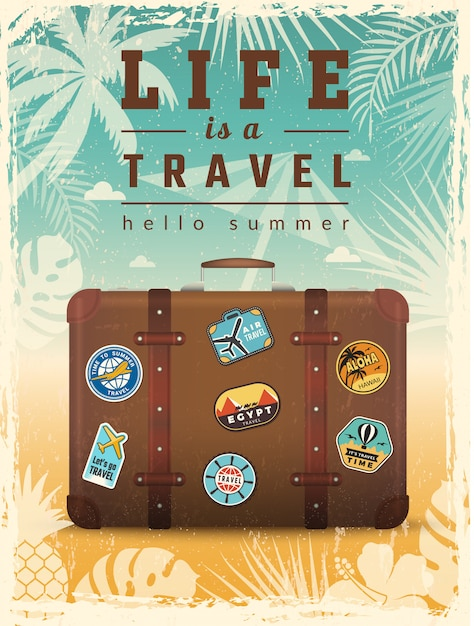 Poster retrò di viaggio. cartello di vacanze estive con i segni di vettore di viaggio Vettore Premium