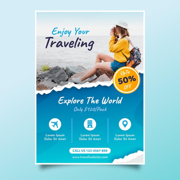 Volantino di vendita di viaggio con foto) Vettore Premium