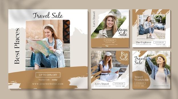 Set di post di instagram di vendita di viaggio Vettore Premium