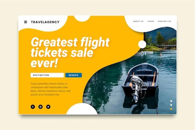 Modello di pagina di destinazione per la vendita di viaggi Vettore Premium