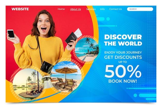 Pagina di destinazione della vendita di viaggi con foto Vettore Premium