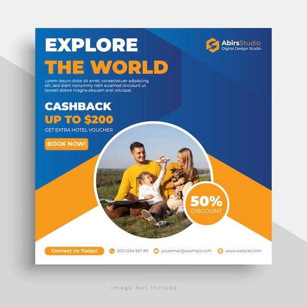 Modello di post per social media di viaggio con un design moderno Vettore Premium