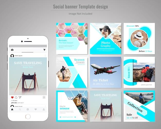 Modello di media sociali di viaggio Vettore Premium