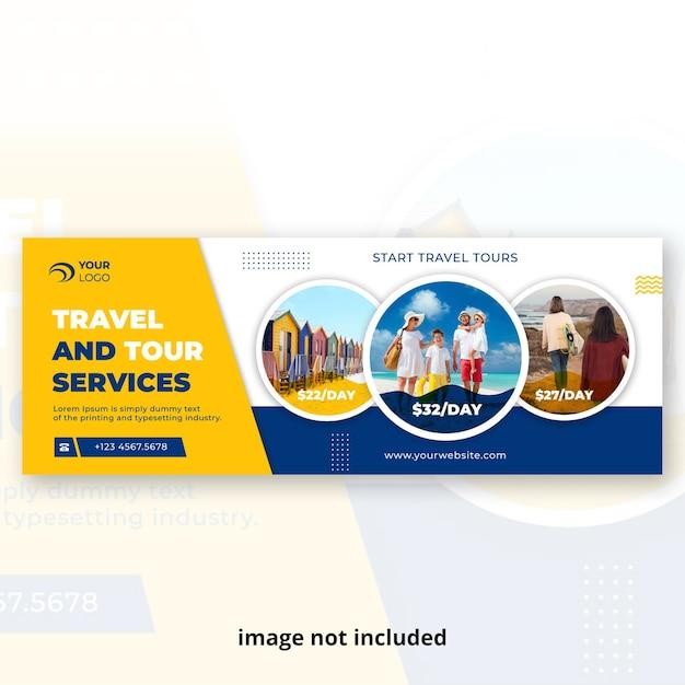 Modello di copertina della cronologia dei social media di viaggio Vettore Premium