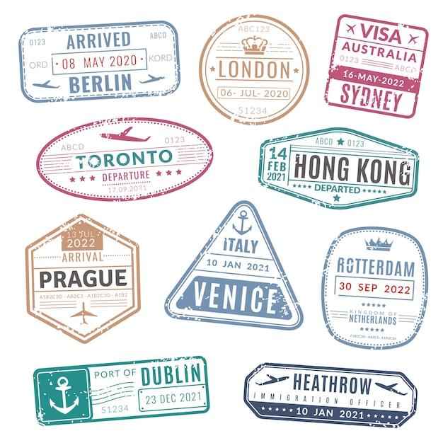 Timbro di viaggio. francobolli di visto internazionale passaporto internazionale arrivati con texture grunge. impostato Vettore Premium