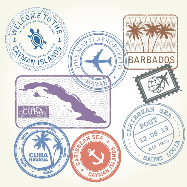 Francobolli di viaggio impostare il tema del mar dei caraibi Vettore Premium