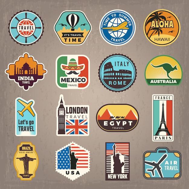 Adesivi da viaggio. distintivi di vacanza o loghi per viaggiatori retrò foto vettoriali Vettore Premium