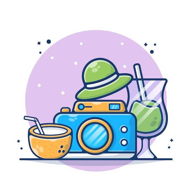 Attrezzatura dello strumento di viaggio con macchina fotografica, cocco, bevanda e illustrazione del cappello. stile cartone animato piatto Vettore Premium