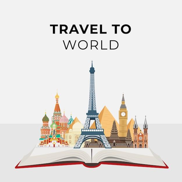 Punti di riferimento famosi del mondo di concetto di turismo e di viaggio Vettore Premium