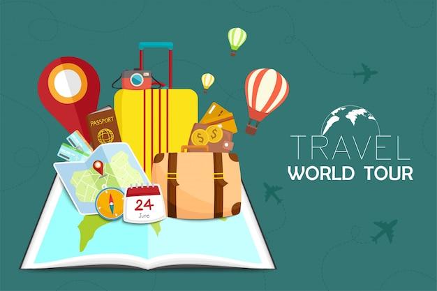 Illustrazione di viaggi e turismo Vettore Premium