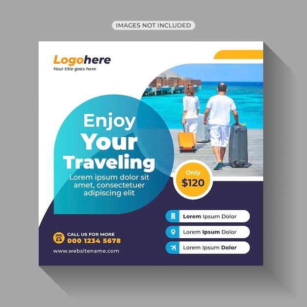 Travel tours social media post Vettore Premium