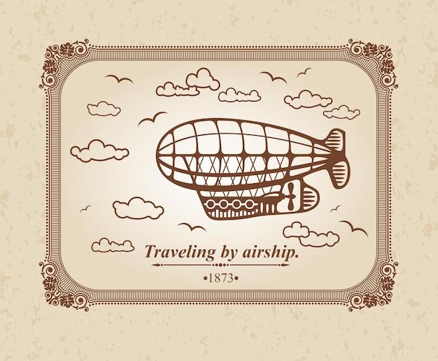 Viaggiare in dirigibile. Vettore Premium