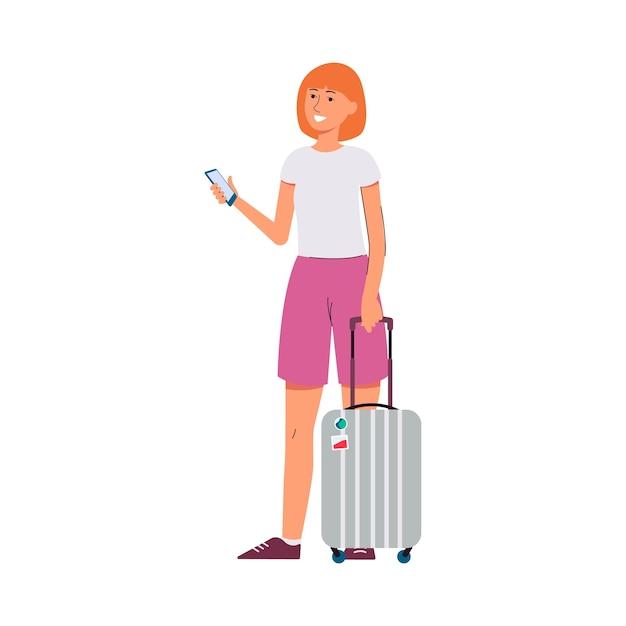 Donna in viaggio con valigia e smartphone personaggio dei fumetti illustrazione su sfondo bianco. vacanze estive, viaggi e turismo. Vettore Premium