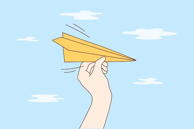Viaggi, affari, consegna, concetto di volo. Vettore Premium