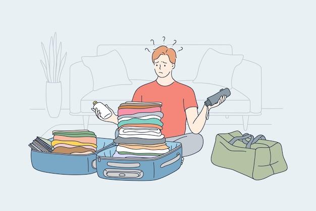 Problema di viaggio escursionismo concetto di pensiero vacanza. Vettore Premium