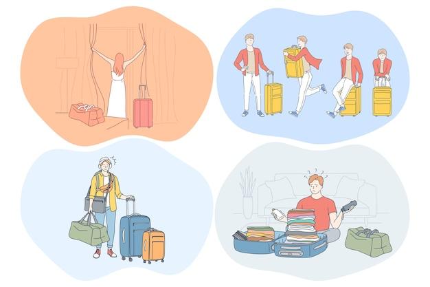 Viaggiare con bagagli, vacanze e viaggio con il concetto di valigie. Vettore Premium