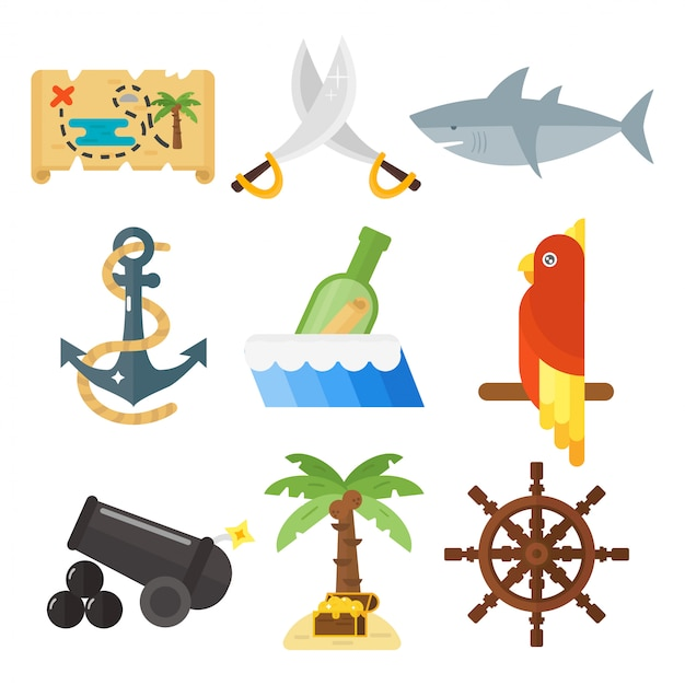 Set di accessori e animali di avventure pirata tesori. Vettore Premium