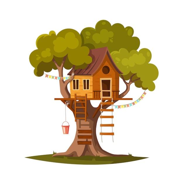 Casa sull'albero per giocare e feste. Vettore Premium