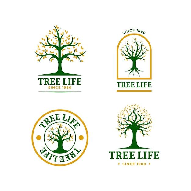 Collezione di logo di vita dell'albero Vettore Premium