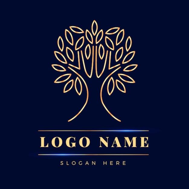 Design piatto logo albero vita Vettore Premium