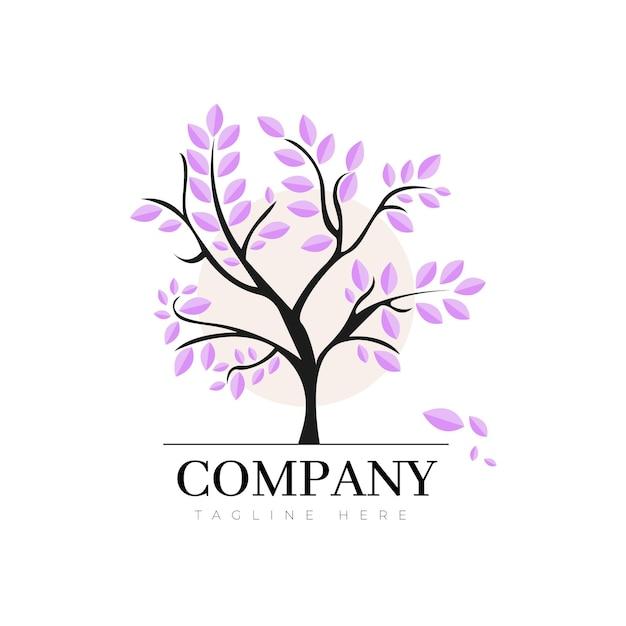 Logo della vita dell'albero con foglie di violetta Vettore Premium