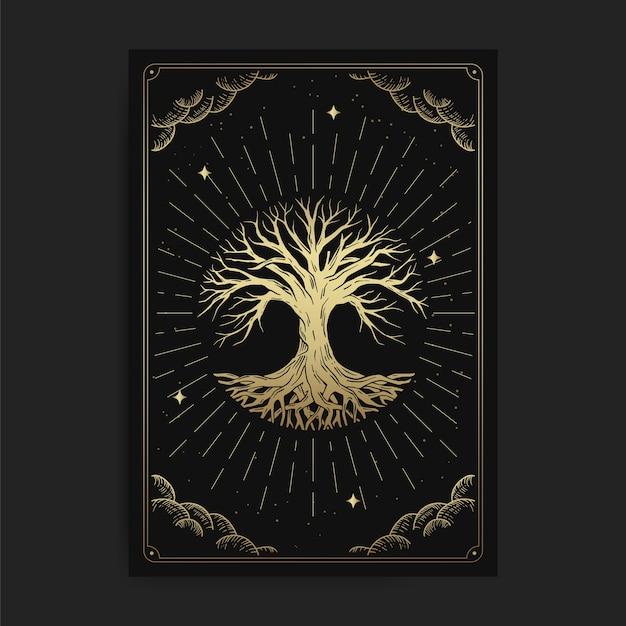 Albero della vita. tarocchi magici occulti, lettore di tarocchi spirituale boho esoterico, astrologia di carte magiche, disegno spirituale o meditazione. Vettore Premium