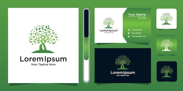 Modello di albero logo giardino verde e biglietto da visita. Vettore Premium